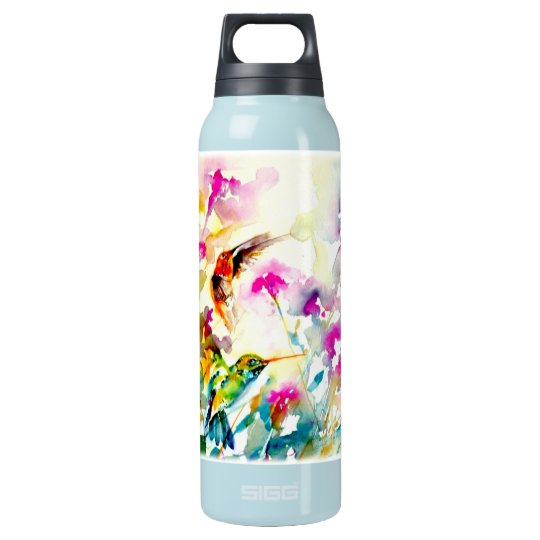 """""""Bright Meadow"""" Hummingbird Print Insulated Water Bottle"""