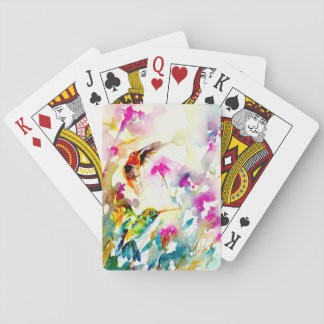"""Bright Meadow"" Hummingbird Print Playing Cards"