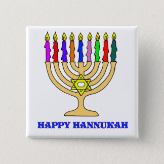 Bright Menorah 15 Cm Square Badge