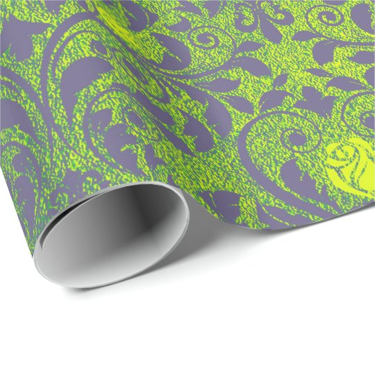 Bright Mint Green Purple Emerald Roses Damask Wrapping