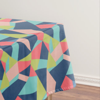 Bright modern abstract patchwork geometric design tablecloth