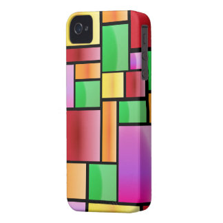 Bright Modern Abstract Rectangle Pattern iPhone 4 Case-Mate Case