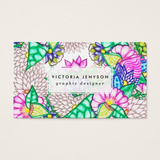 Bright modern botanical preppy floral watercolor business card