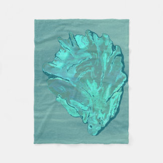 Bright Modern Cyan Oyster Shell Fleece Blanket