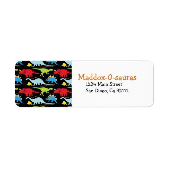 Bright Modern Dinosaur Return Address Labels