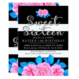 Bright Modern Floral, Sweet 16 Invitations