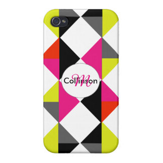 Bright Modern Geometric Pattern Personalized iPhone 4 Covers