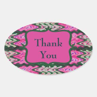 Bright Modern Pink Green Thank You Sticker