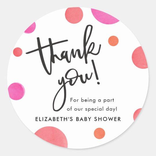 Bright Modern Polka Dot Baby Shower Thank You