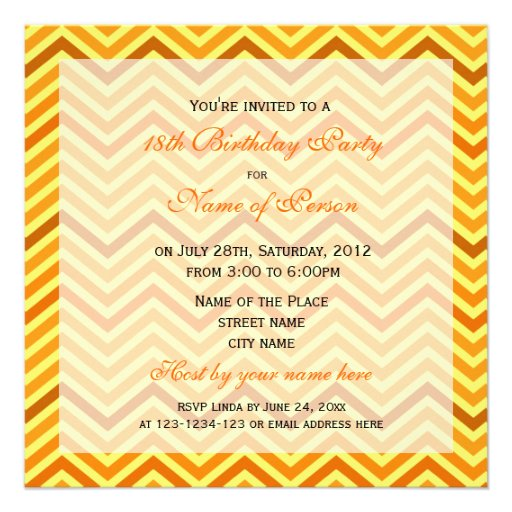 Bright, modern, trendy, sunny  chevron birthday invitations