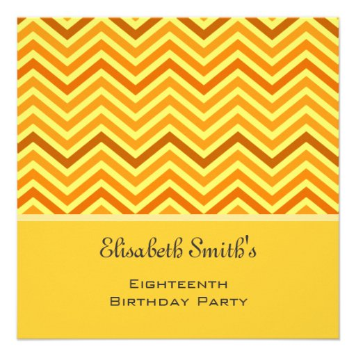 Bright, modern, trendy, sunny  chevron birthday invitation