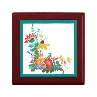 Bright Modern Vector Floral Pattern Flowers Teal Gift Box