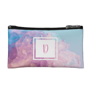 Bright Monogram Crystals Pastel Photo Design Cosmetic Bag