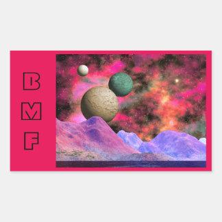 Bright Monogrammed Space scene Rectangular Sticker