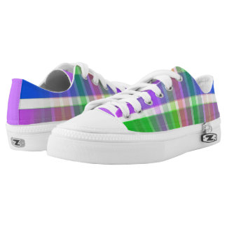 Bright Multi Colored Plaid Violet Sneaker Printed Shoes