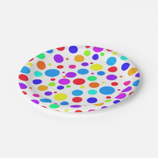 Bright Multi Colored Spots Paper Plate