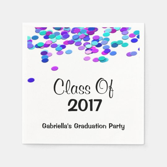Bright Multi Coloured Confetti Class Of 2017 Disposable Napkin
