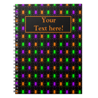 Bright multi spiders personalized notebook