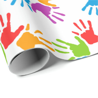 Bright Multicolored Diversity Hand-prints Wrapping Paper