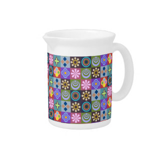 Bright Multicolored Patchwork Pattern Pitcher
