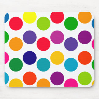 Bright Multicolored Polka Dots Pattern Mouse Mat