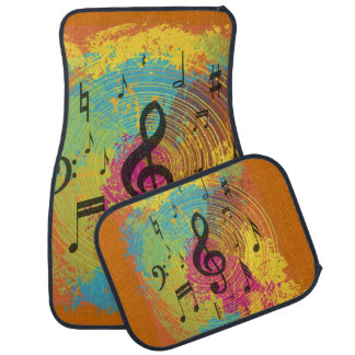 Bright Music Notes on Explosion of Color Car Mat