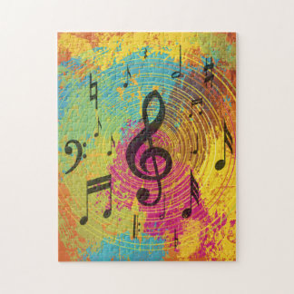 Bright Music Notes on Explosion of Color Jigsaw Puzzle