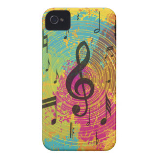 Bright Music notes on explosion of colour iPhone 4 Case