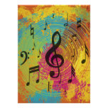 Bright Music Notes on Explosion of Colour Poster