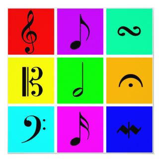 bright music symbols 13 cm x 13 cm square invitation card
