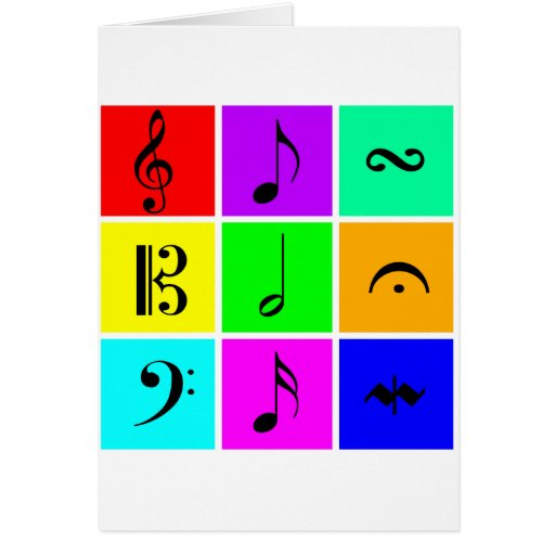 bright music symbols cards