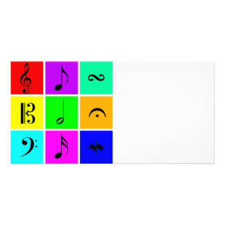 bright music symbols card