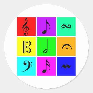 bright music symbols round sticker