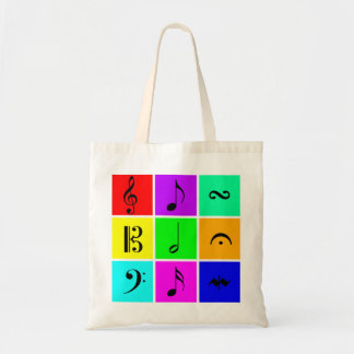 bright music symbols tote bag