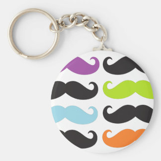 Bright Mustaches Basic Round Button Key Ring