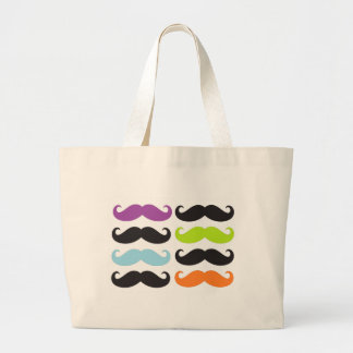 Bright Mustaches Large Tote Bag