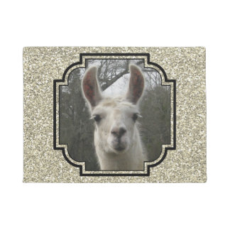 Bright N Sparkling Llama in Gold Champagne Doormat