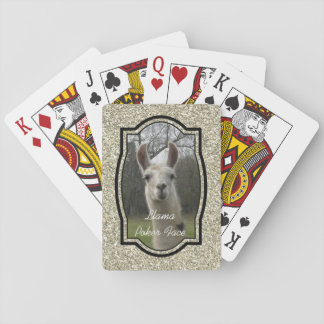 Bright N Sparkling Llama in Gold Champagne Poker Deck