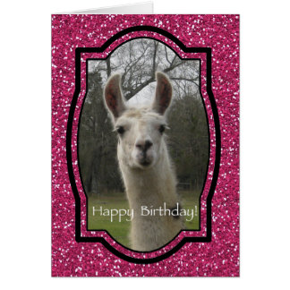 Bright N Sparkling Llama in Hot Pink Greeting Card