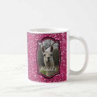Bright N Sparkling Llama in Hot Pink Basic White Mug