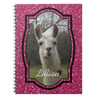 Bright N Sparkling Llama in Hot Pink Notebook