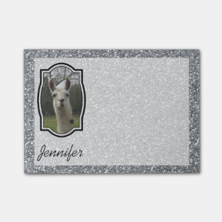 Bright N Sparkling Llama in Silver Post-it® Notes