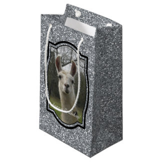 Bright N Sparkling Llama in Silver Small Gift Bag