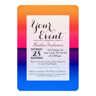 Bright Neon Abstract Sunrise 13 Cm X 18 Cm Invitation Card