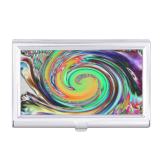 Bright Neon Abstract Vortex Swirls Business Card Holder