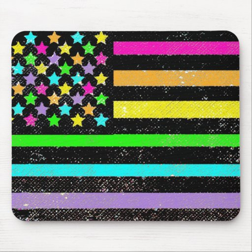Bright neon American flag grunge Mousepads