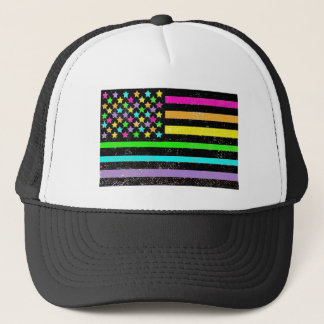 Bright neon American flag grunge Trucker Hat