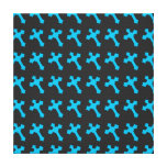 Bright Neon Blue Crosses on a Black fabric Gallery Wrap Canvas