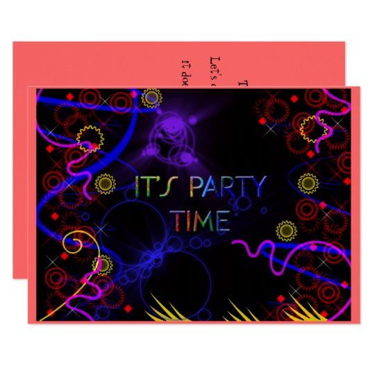Bright Neon Colours, Custom Party Invitation