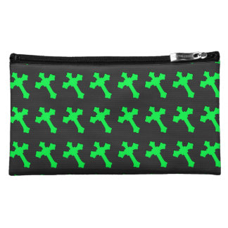 Bright Neon Green Crosses on a Black fabric Makeup Bag